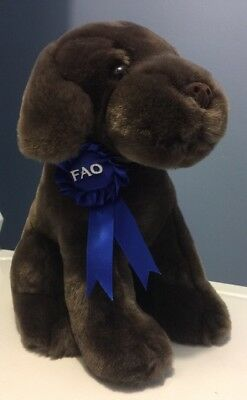 "FAO Chocolate Labrador Lab Puppy Dog Plush Stuffed Animal 9"" Blue Ribbon!"