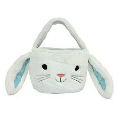 Decorative Lined White Plush Easter Bunny Basket with Handle