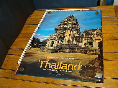 """THAILAND POSTER Approx.23.5 x 36"""" ca 1980s """"Monument to Ancient Civilization"""""""