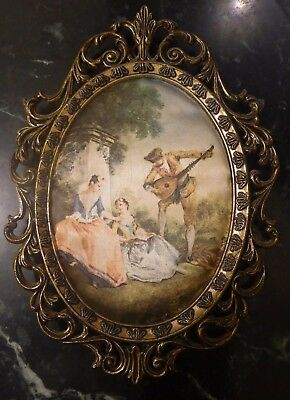 Vintage Silk Pictures Brass Framed Wall Hanging Made In Italy 16 x 11.5cm