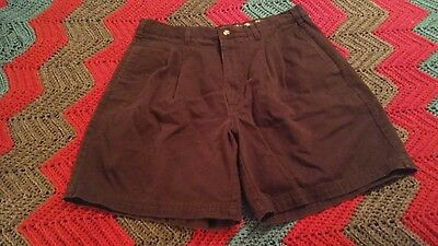 Men's Authentic GOLF Black Shorts Size 34 Pleated Casual 100% Cotton