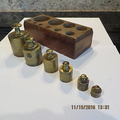 Antique Brass Scale Weights ~ Incomplete Set ~ Please Read Descript