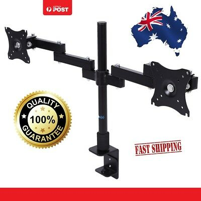 Dual HD LED Desk Mount Monitor Stand Bracket 2 Arm Display Two LCD Screen TV