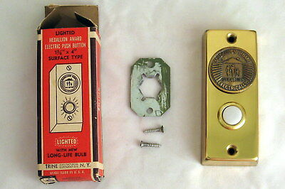 Vintage Lighted Medallion Award Electric Push Button Door Bell  L7