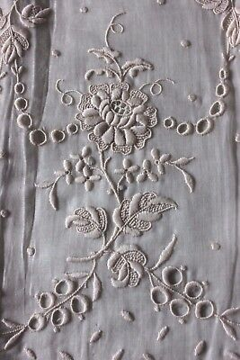 Beautiful French/Swiss Wide Hand Embroidered Floral Sample c1890