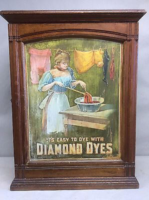 """Antique Diamond Dye, Country Store Display Cabinet 24"""""""