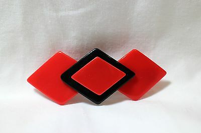 """New Vtg Red & Black Lucite 3 3/4"""" x 1 1/4"""" Hair Barrette French Clip Curved 70's"""