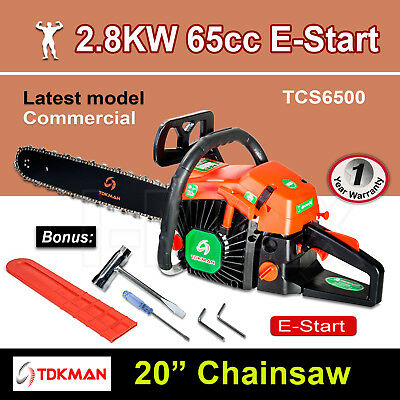 "New TDKMAN 65CC Petrol Chainsaw Chain Saw 20"" Inch Bar Tree Log Pruning Pruner"