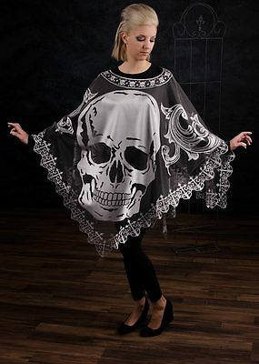 Halloween, Goth HAWTHORNE GARDENS Skull Poncho by Heritage Lace HGP-P USA