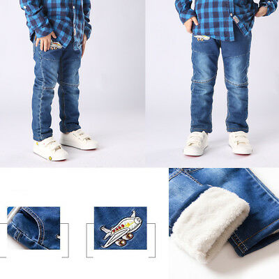 Kids Baby Boys Girl Denim Washed Jeans Winter Fleece Thick Trousers Casual Pants