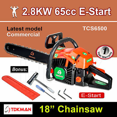 "New TDKMAN 65CC Petrol Chainsaw Chain Saw 18"" Inch Bar Tree Log Pruning Pruner"