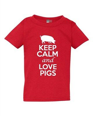 Ladies Keep Calm and Love Pigs Boar Animal Lover Meat Pork Pig Lover T-Shirt Tee