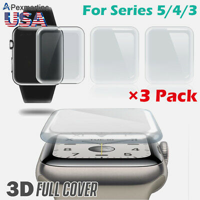 3-PACK Apple Watch Series 4/3 Premium Tempered Glass Screen Protector 40/44/38mm