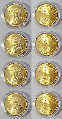 4 x EGYPT GOLDEN 50 PIASTRES QUEEN CLEO 23mm  COIN UNC CAPSULED NO LONGER MINTED