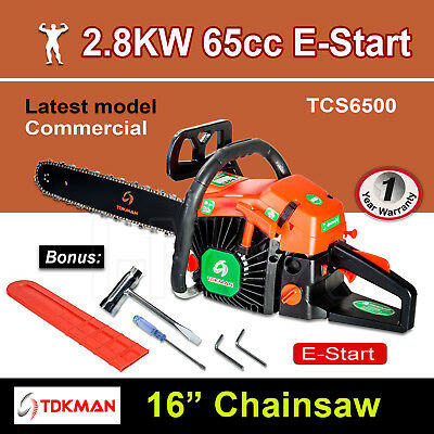 "New TDKMAN 65CC Petrol Chainsaw Chain Saw 16"" Inch Bar Tree Log Pruning Pruner"