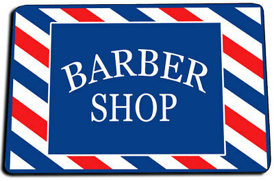Red White & Blue Barber Shop Design Foam Back Door Mat Rug