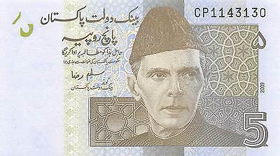 Pakistan 5 Rupees 2009 Prefix CP  Uncirculated Banknote