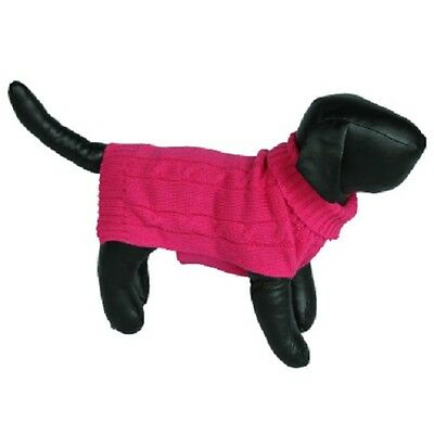Bright Pink Knit Turtleneck Sweater for Small Dogs