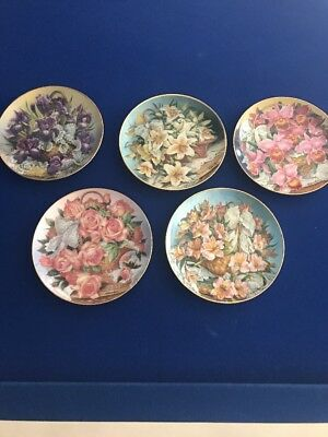 """5 FRANKLIN MINT  LIMITED EDITION Country Flowers """" Princess Grace"""""""