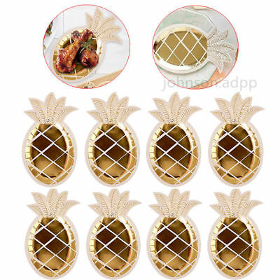 8X Gold Pineapple Dish Plates Wedding Birthday Party Disposable Dinner Tableware