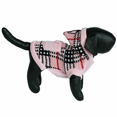 Pink Plaid Hooded Sweater - For Small Dogs