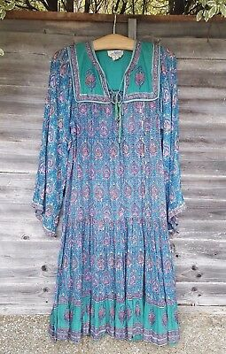 Vintage 1970s Indian Gauze Cotton Block Print Dress by Adini Small