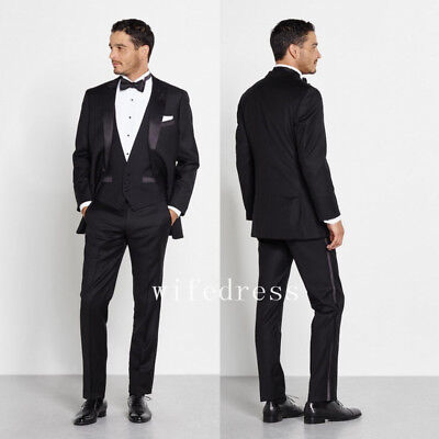 Black Three Piece Suit Wedding Tuxedos Men 2017 New Notched Lapel Formal Party