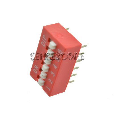 10Stks Pitch 6-Bit 6-Positions Way Slide Type DIP Switch Module NEW Red 2.54mm