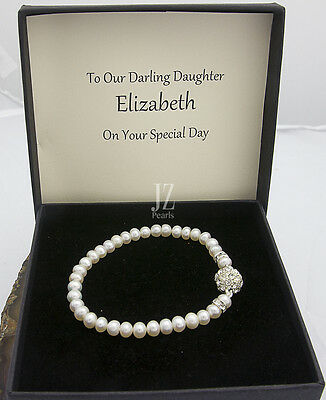 Freshwater Cultured Pearl Bracelet with Rhinestone Clasp & S/S Stud Earrings.