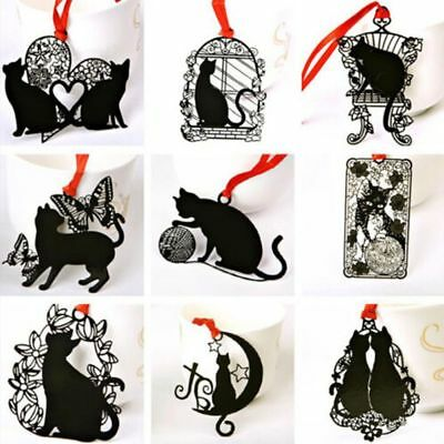 2pcs Cute Black Cat Shape Hollow Metal Bookmarks School Office Supply