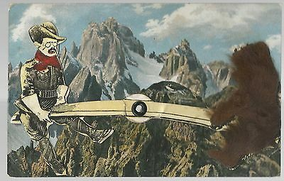 HTF Mechanical Postcard Rough Rider Theodore Roosevelt On See Saw w/ Hairy Bear