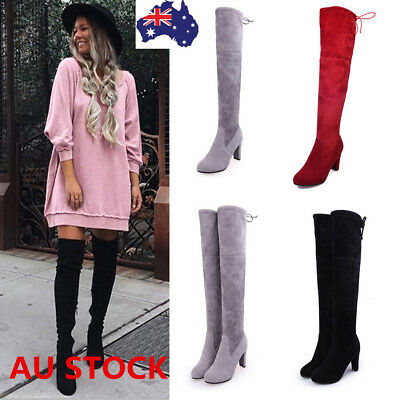 Women Suede Over The Knee Boots Block Heel Lace Up Stretch Thigh Long Boots Shoe