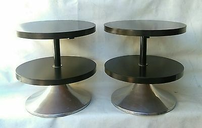Pair round Nightstands italian mid century wood & chrome base Bedside 1960/70s