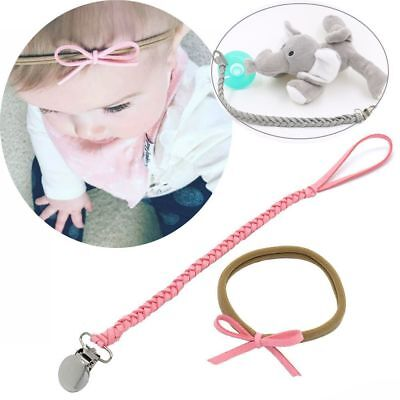 Baby Infant Braided Faux Leather Pacifier Clips Holder Chain Strap+ Bow Headband