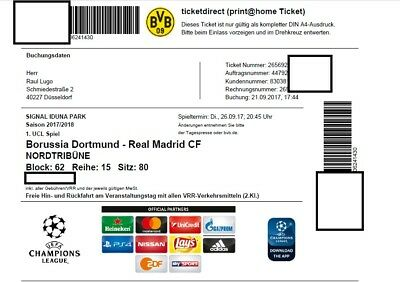 BVB vs Real Madrid - Champions League  26.09.2017 Print at Home Ticket