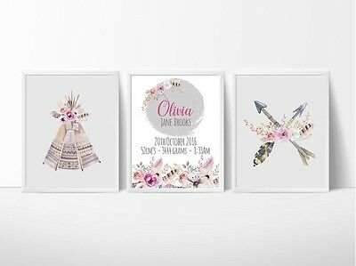 Custom Baby Birth Print  Announcement Nursery Wall Art Set of 3