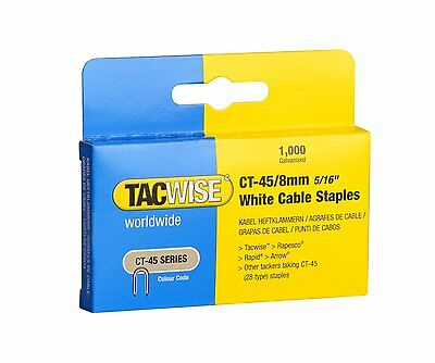 TACWISE CT45 8mm WHITE CABLE TACKER STAPLES, 1000 PER BOX, FITS CABLE TACKERS