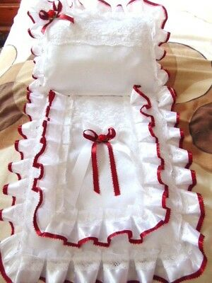 Dolls Pram Set Cover And Pillow With Lush White Satin Ribbon And Deep Red