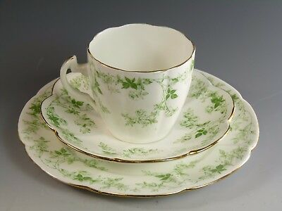 SHELLEY Foley Wileman China - Green Rose Sprays - Lily Shape Trio - 10046
