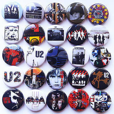 U2 Boy War Rattle and Hum Achtung Baby Zooropa Pop Pins Button Badges Lot of 25