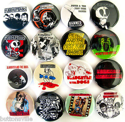 PETER & THE TEST TUBE BABIES SUBHUMANS SLAUGHTER & THE DOGS Pins Buttons Badges