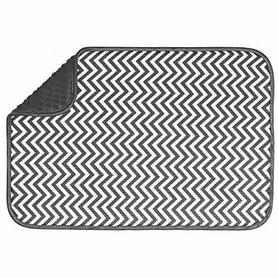 Chevron Absorbent Microfibre Drying Mat Dish Glassware Rack Drainer Kitchen Sink