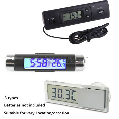 Digital LED Auto Car In-Outdoor Thermometer W/Sensor Temperature LCD Display NEW