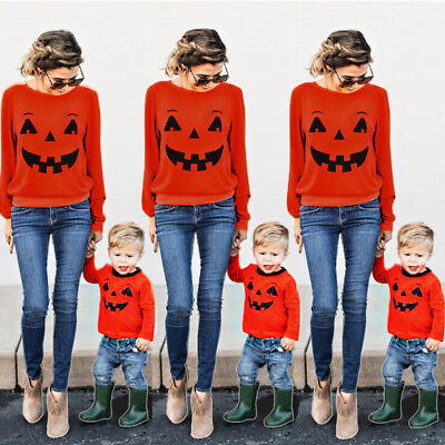 Halloween Family Mother Parent Child T-shirt Tops Blouse Matching Outfit Clothes
