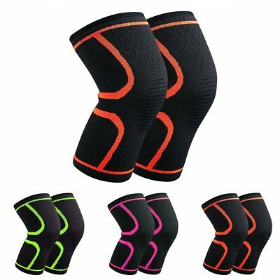 Pair Sports Knee Support Brace Breathable Compression Sleeve for Running Jogging