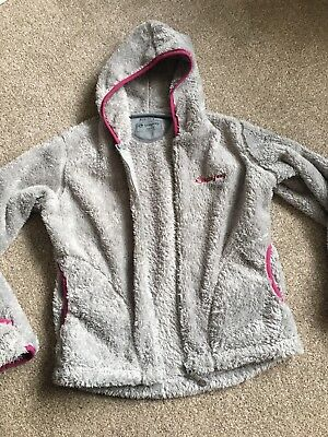 Grey Hooded Jacket Fluffy, Fold back sleeves to cover hands Age 8-9 Years
