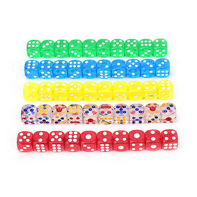 13mm 10Pcs transparent six sided spot dice toys D6 RPG role playing game ev