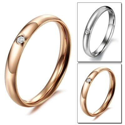 3mm Rose Gold/Silver CZ Fashion Band Women Titanium Steel Wedding Ring Size 5-9
