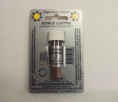 Sugarflair Brown Shimmer Lustre Dust Powder, 2g, Edible Food Colour Tint