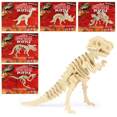 Kids Childrens 3D Wooden Learning Dinosaur Puzzle Model Wood Kit Toy 6 Designs